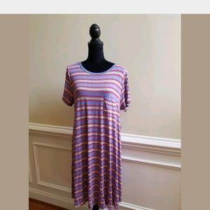 Lularoe Carly Blue Stripe Dress Size Large